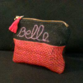 "Mini pochette toile de jute ""Belle"" 02"