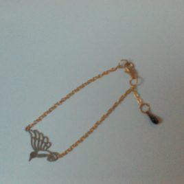 Bracelet estampe oiseau doré et goutte émaillée
